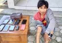 PELAKU : Pelaku pencurian yang berhasil diamankan oleh anggota Polres Lombok Timur.
